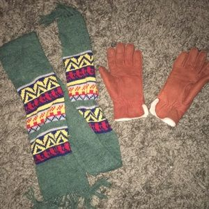 Sheepskin gloves and green scarf combo. vintage!